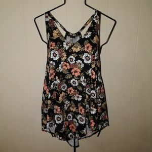 Black Floral XL Strappy Tank Top NWT